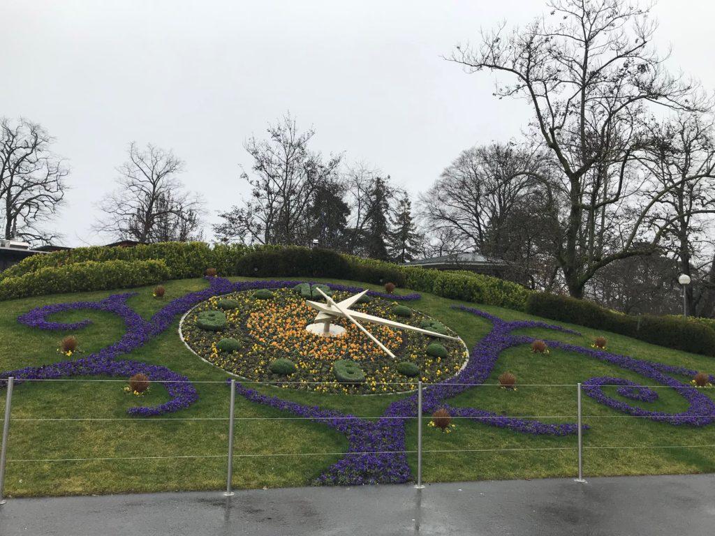 ジュネーブの花時計、冬でも綺麗