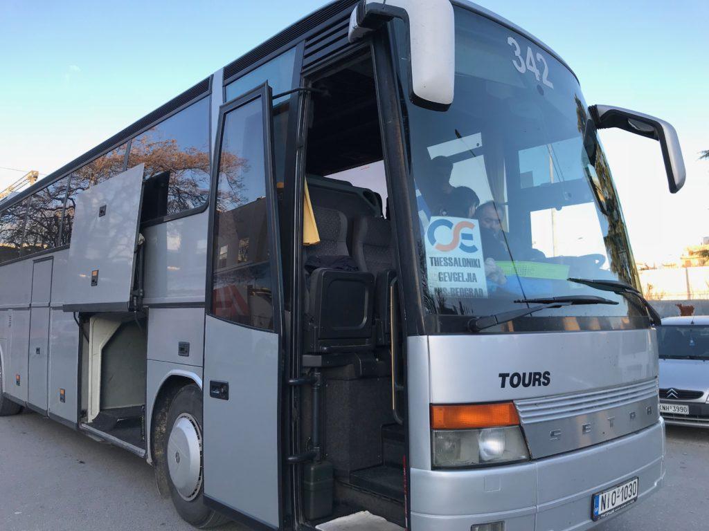 テッサロニキからベオグラードまで行く人用のバス